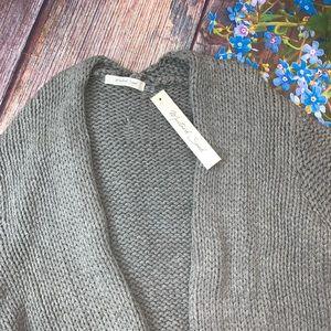 Mustard Seed Sweaters - NWT Mustard Seed Gray Waffle Knit Open Cardigan S